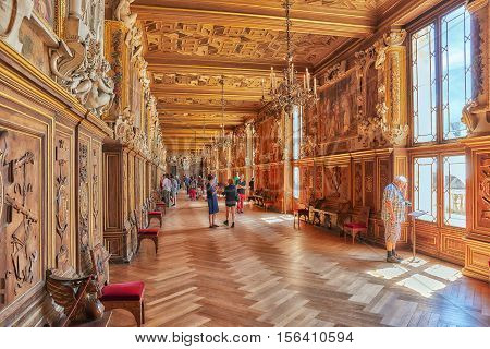 Fontainebleau, France - July 09, 2016 : Fontainebleau Palace Interiors. Gallery Francesco. Chateau W