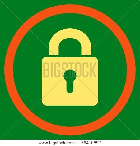 Lock Keyhole vector bicolor rounded icon. Image style is a flat icon symbol inside a circle, orange and yellow colors, green background.