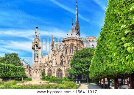 Paris, France - July 08, 2016 : Notre Dame De Paris Cathedral, Most Beautiful Cathedral In Paris. Ea