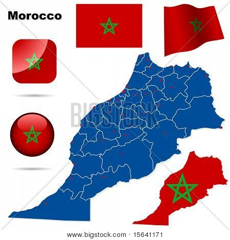 Morocco vector set. Detailed country shape with region borders, flags and icons isolated on white background.