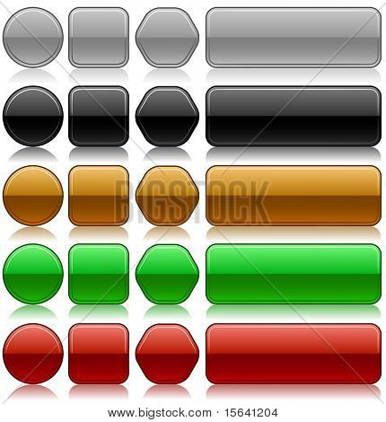 Metallic embossed blank buttons vector set in different colors and shapes.