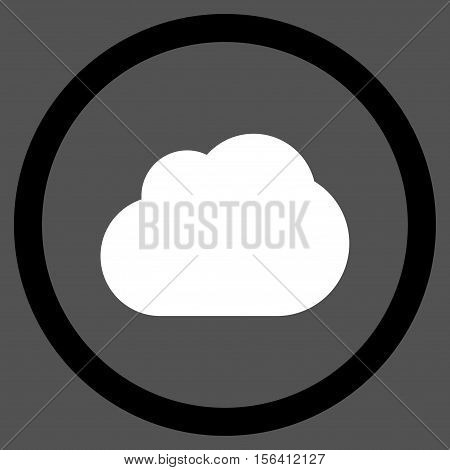 Cloud vector bicolor rounded icon. Image style is a flat icon symbol inside a circle, black and white colors, gray background.