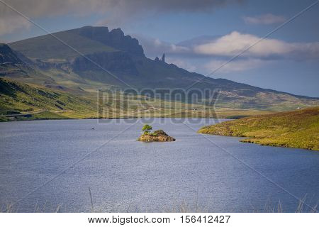 The old man of Storr and Trotternish from a distance Isle of Skye Scotland