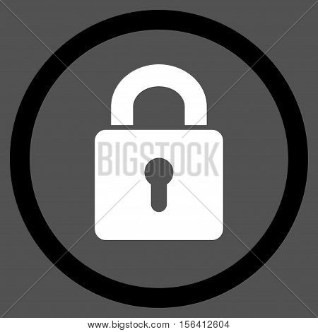 Lock Keyhole vector bicolor rounded icon. Image style is a flat icon symbol inside a circle, black and white colors, gray background.