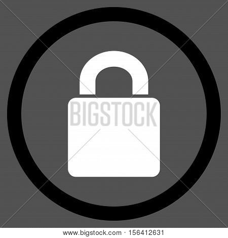 Lock vector bicolor rounded icon. Image style is a flat icon symbol inside a circle, black and white colors, gray background.