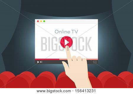 Online TV Flat Vector Iillustration. Hand Over Abstract Browser In The Movie Hall.
