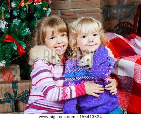 two sisters at home with pet rats with Christmas tree and presents
