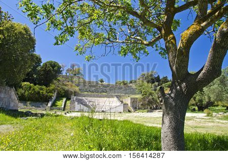 Ancient acropolis amphitheatre in Rhodes island Greece