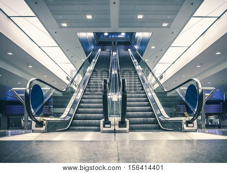 Escalator in modern building. Urban abstract landscape