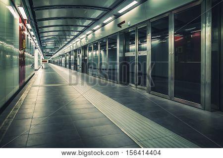Interior of underground metro train station.  Urban landscape