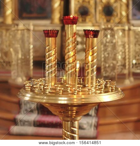 candlesticks in the church in Russia. Krasnodar.