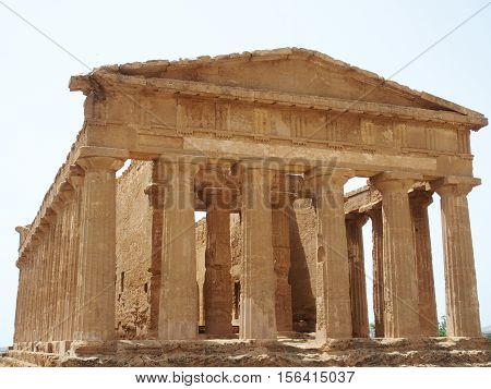 Temple of Concordia in Valley of the Temples in Agrigento in spring, Sicily, Italy