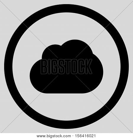 Cloud vector rounded icon. Image style is a flat icon symbol inside a circle, black color, light gray background.