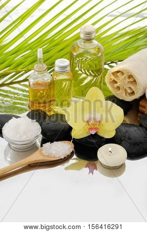 Spa concepts -bowl of frangipani, with towel and leaf ,candle on towel