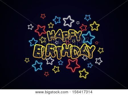 Happy Birthday Greeting Card On Dark Background