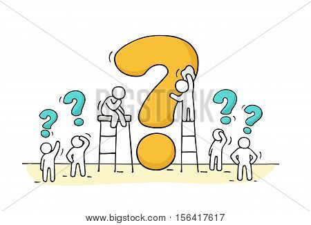 Sketch of working little people with big question. Doodle cute miniature scene of workers trying to solve problem. Hand drawn cartoon vector illustration for business design.