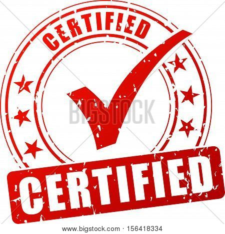 Illustration of certified stamp on white background