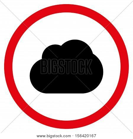 Cloud vector bicolor rounded icon. Image style is a flat icon symbol inside a circle, intensive red and black colors, white background.