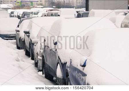 City cars, under snow cover. The parked city cars brought by snow at a roadside.