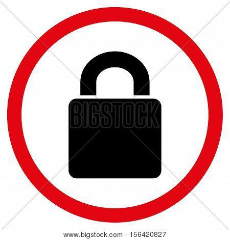 Lock vector bicolor rounded icon. Image style is a flat icon symbol inside a circle, intensive red and black colors, white background.