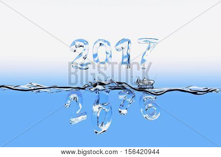 3D rendering of a water surface with the numbers of 2016 splashing into water and 2017 floating above the surface. All the numbers appear also as made of water.