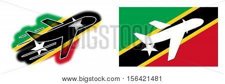 Nation Flag - Airplane Isolated - Saint Kitts And Nevis