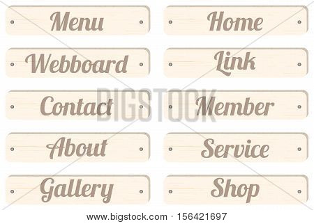 wood board menu bar with wording menu home webboard link contact member about service gallery shop for website design