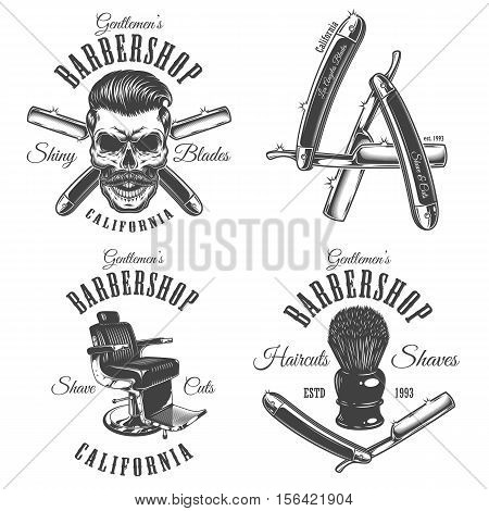 Set of vintage barbershop emblems, labels, badges, logos. Layered. Text is on separate layer. Isolated on white