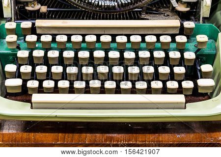 Typewriter keyboard in close up shot., old typewriter