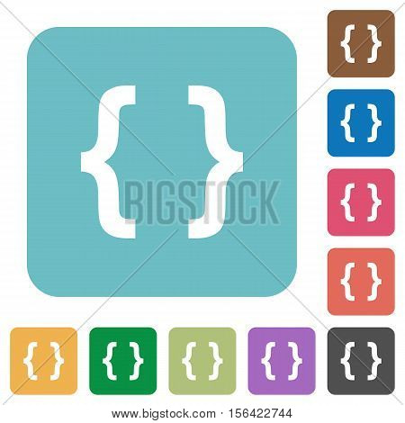 Programming code white flat icons on color rounded square backgrounds