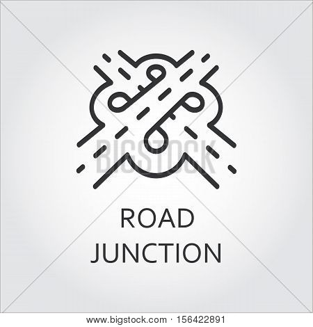 Label of road junction, icon in outline style. Transport interchange concept. Sign drawn in outline style. Simple black line logo for websites, mobile apps and other design needs. Vector pictograph