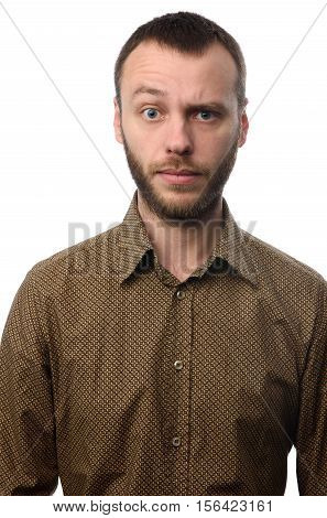 Serious Young Man With Raised Eyebrow
