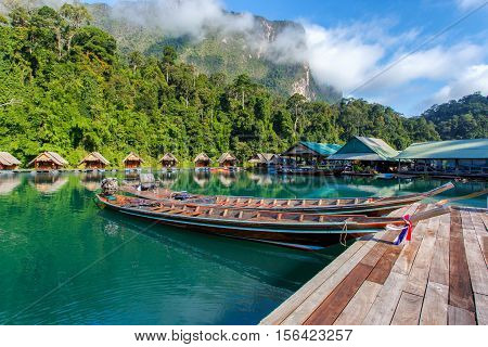 Travel by small boats Ratchaprapha dam area in Surat Thani province Thailand.