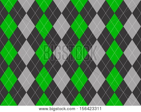 Gray green fabric argyle seamless pattern. Flat design. Vector illustration.