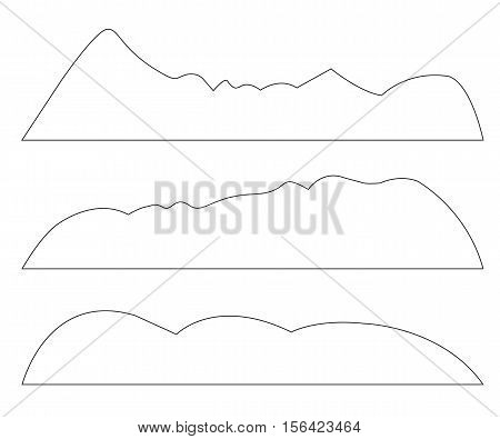 Vector paths of Mountains set on the white background