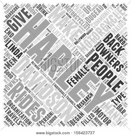 What Type of Person Owns a Harley Davidson Motorcycle  text background word cloud concept