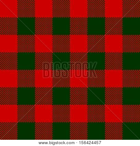 Red green check pattern seamless fabric texture. Vector illustration.