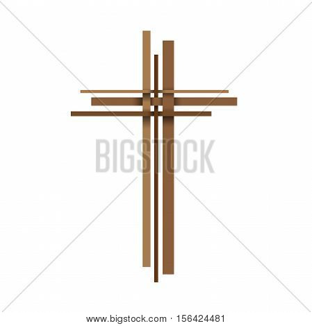 Vector abstract logo Christ crucifix; three crosses