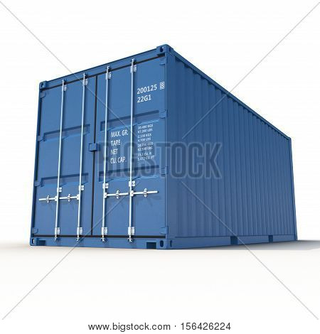 Shippping container on white background. 3D illustration