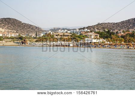Tropical beach at Mediterranean sea in Limassol city, Cyprus.