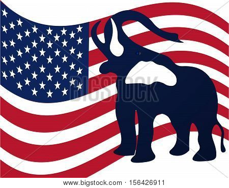 Republican elephant in the background of the American flag. Republican victory in US elections. Vector illustration