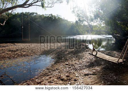 Multiple swings at an Australian water hole