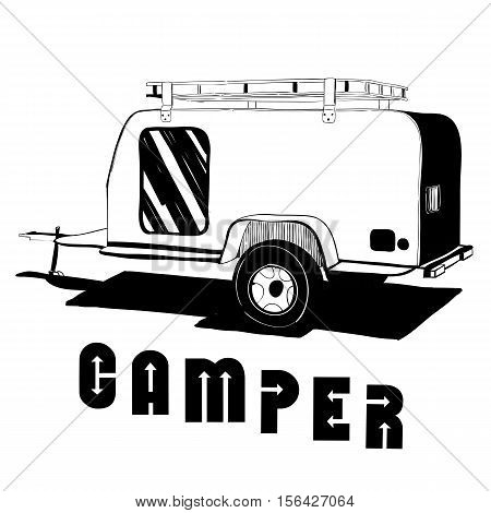 Vector illustration of isolated Hand Drawn, doodle Camper trailer, car Recreation transport, Vehicles Camper Vans Caravans Icons. Motor home. Object with text.