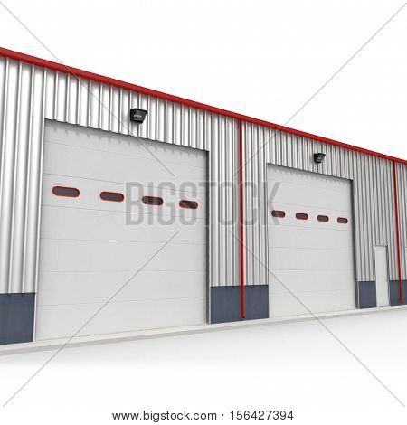 Prefab Steel Building garage door on white background. 3D illustration