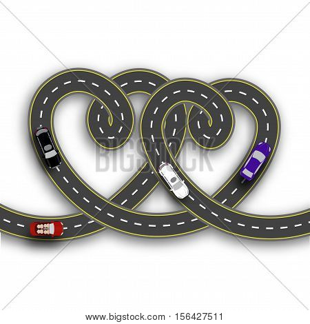 Cards for Valentine Day. Trips by car. Two hearts in the form of roads on a white background isolated. 3D. Vector illustration
