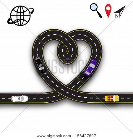 Cards for Valentine s Day. Trips by car. Heart in the form of the road on a white background isolated. 3D. Vector illustration