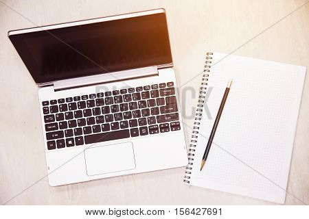 Notebook and book note for memory business or activity. Home office with lifestyle and slow life in free day. Working with notebook for memory job or planning. Trader document work and business plan.