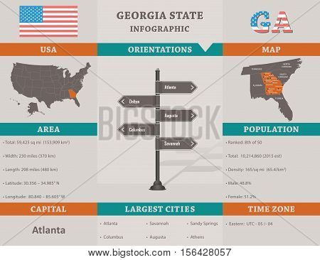 USA - Georgia state infographic template design