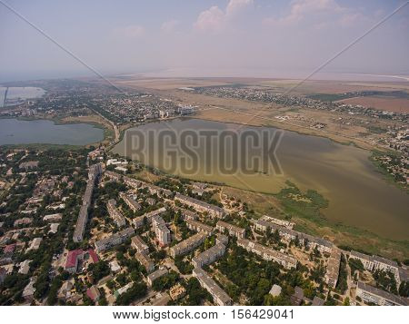 Salt Lakes And The Town Of Saki In The Crimea.
