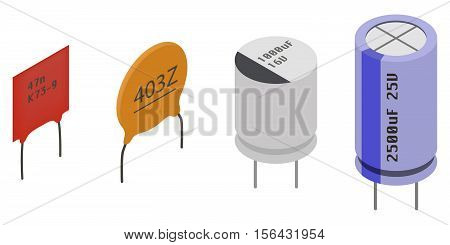 Different Capacitors in isometric view. Isometric Electronic components icons set.